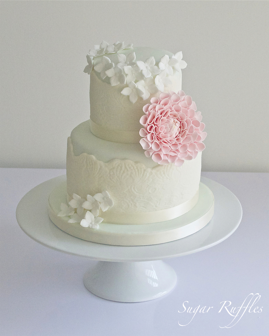 Mint And Ivory Lace With Dahlia And Hydrangea on Cake Central