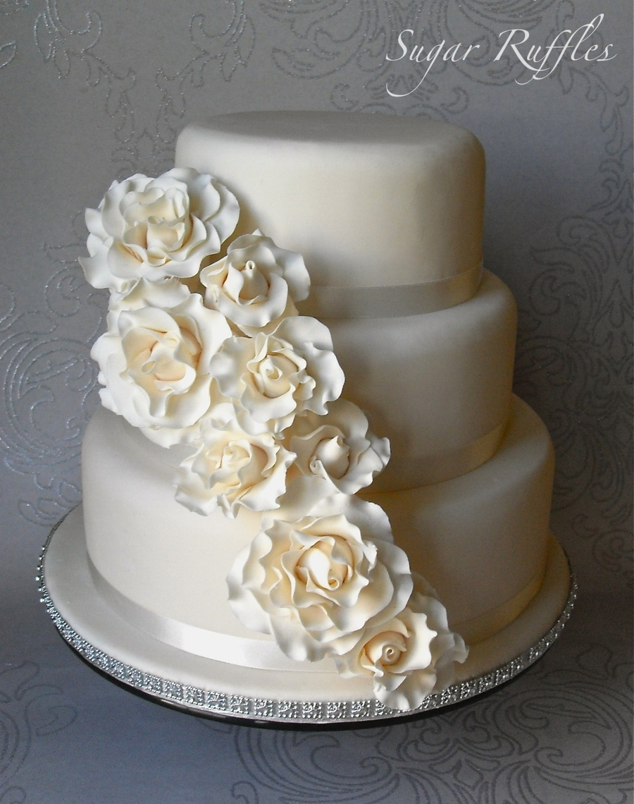 Rose Cascade Wedding Cake on Cake Central