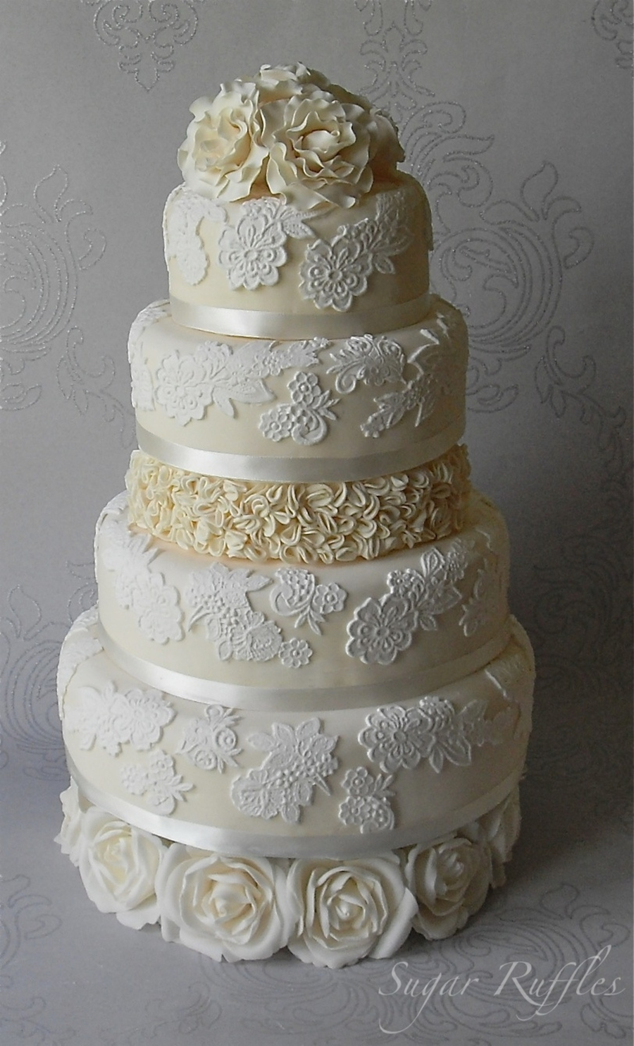 Lace And Roses Wedding Cake  on Cake Central