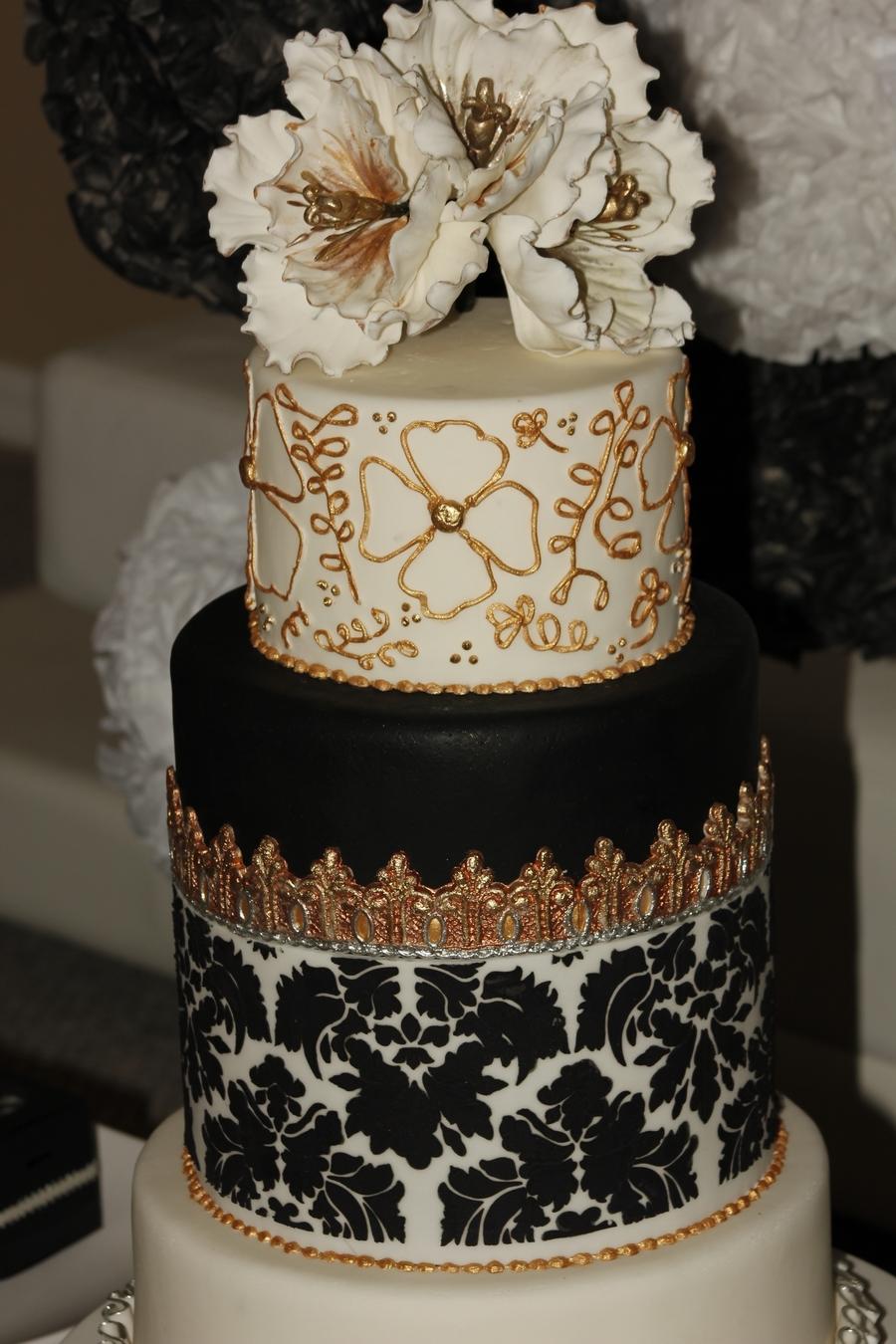 Navy White Wedding Cake Silver Monogram