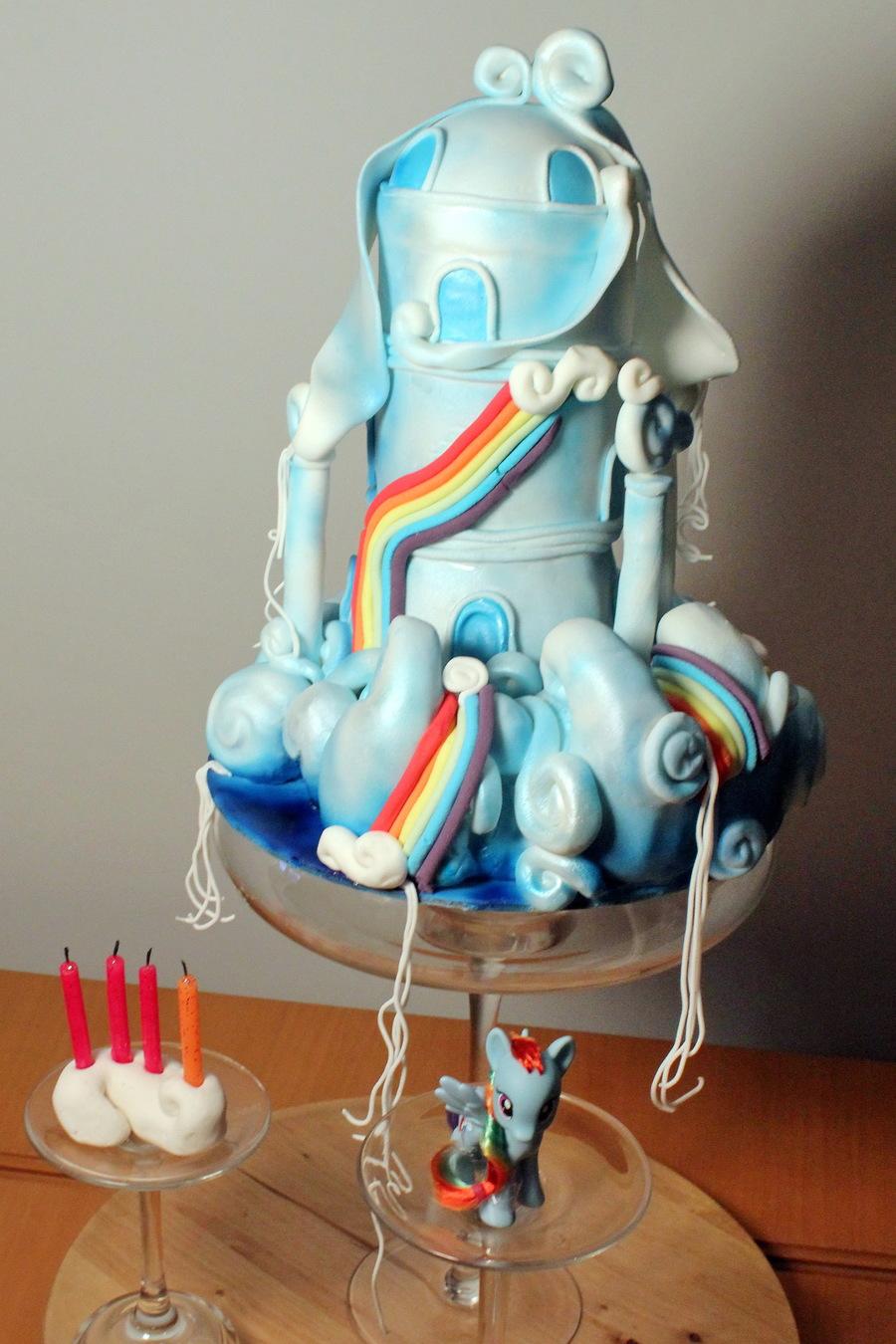My Little Pony Rainbow Dash Cloud House Cake Cakecentral Com