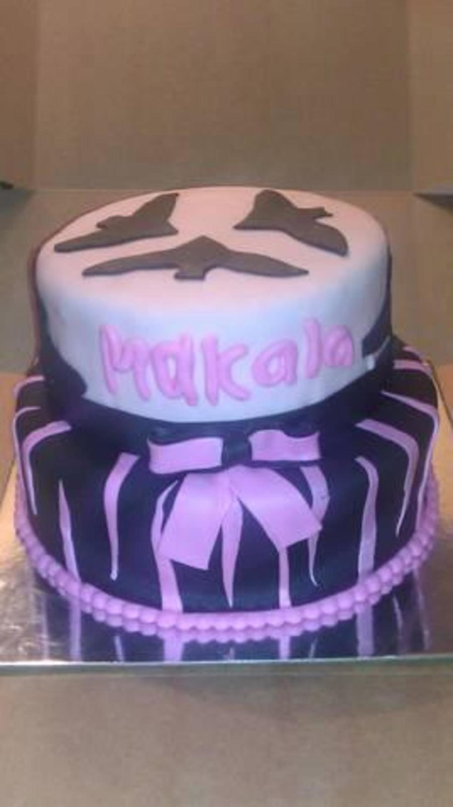 Monster High Two Tiered Fondant Cake With Fondant Bow And Decorations Customer Bought Monster High Doll To Place On Top on Cake Central