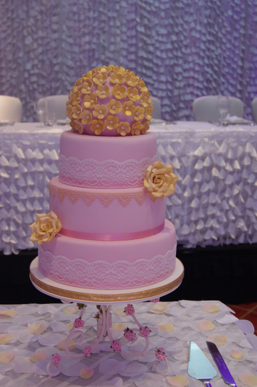 Pink Gold Wedding Cake 4 Tiers Handmade Sugar Roses And Blossoms