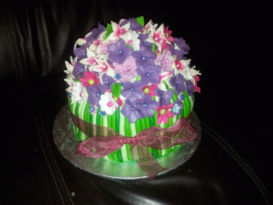 Bouquet Of Purple And Pink Spring Flowers on Cake Central