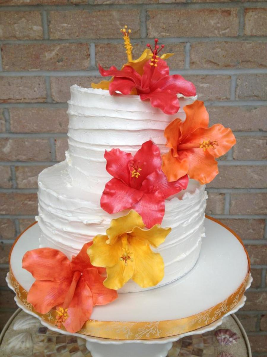Shabby Chic Style Cake With Handmade Hibiscus Flowers It Was The