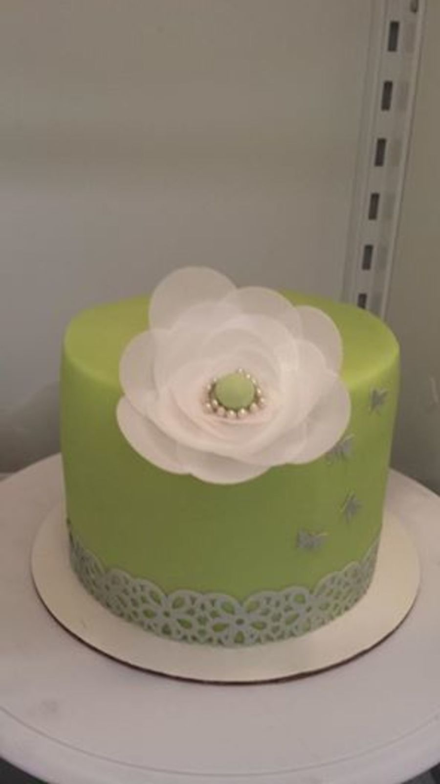 Classy Mint Green Cake With Rice Paper Flower And Border