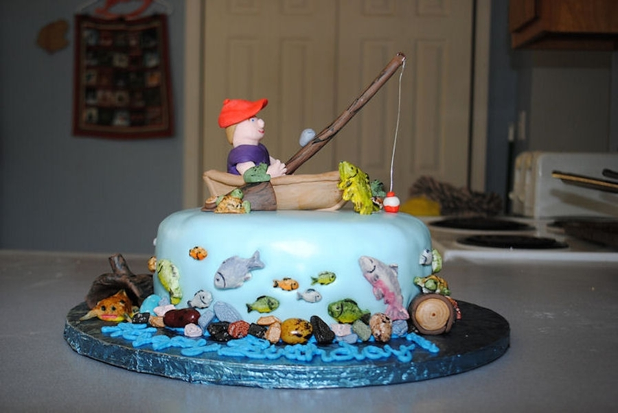 Remarkable Fishing Themed Birthday Cake Cakecentral Com Personalised Birthday Cards Cominlily Jamesorg