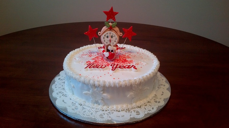Gum Paste Clock Stars And Snowflakes Molded Fondant Lettering Then ...