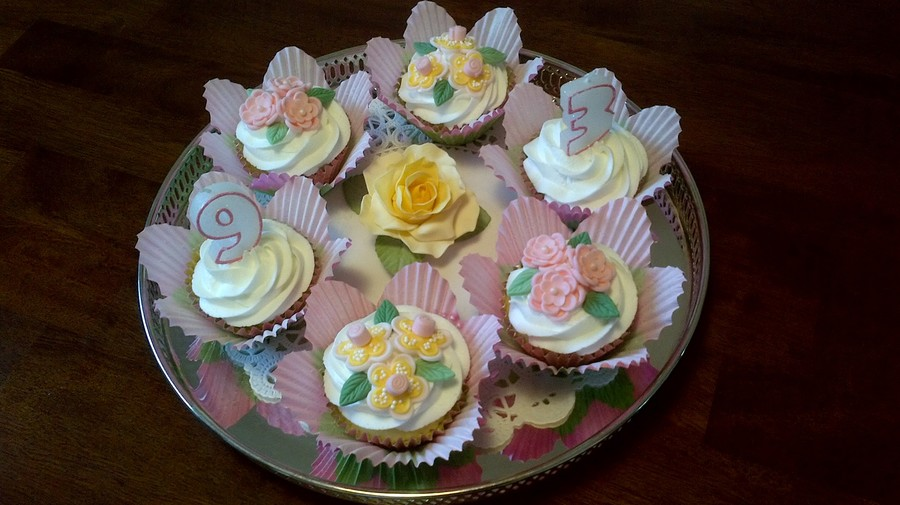 Cupcakes With Fondant Flowers And Butter Cream Icing For My Mothers 93Rd Birthday on Cake Central