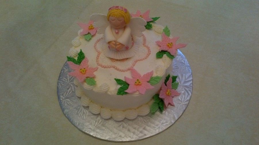 White Cake With Almond Flavored Butter Cream Icing Gumpaste Angel And Fondant Flowers on Cake Central