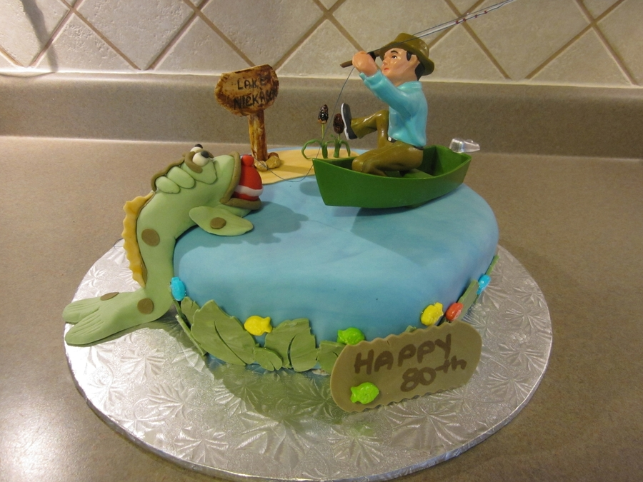 80Th Birthday For A Fisherman on Cake Central