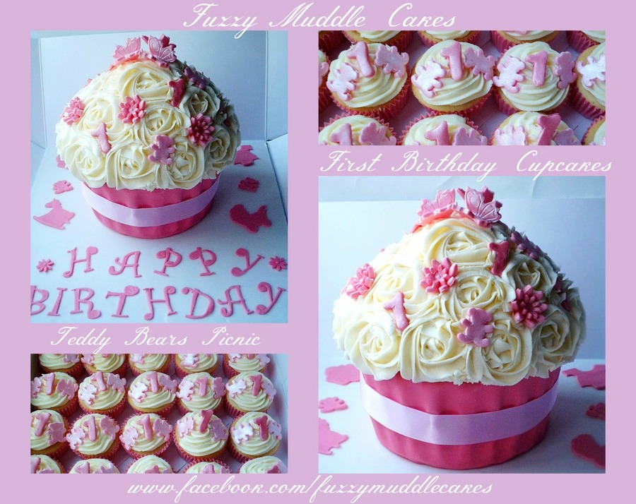 1St Birthday Giant Cupcake And Matching Mini Ones on Cake Central