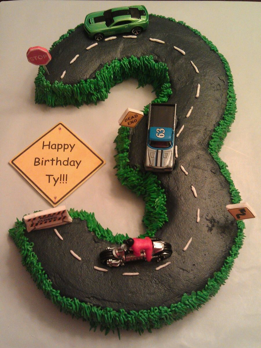 Number 3 Cake Road Cars