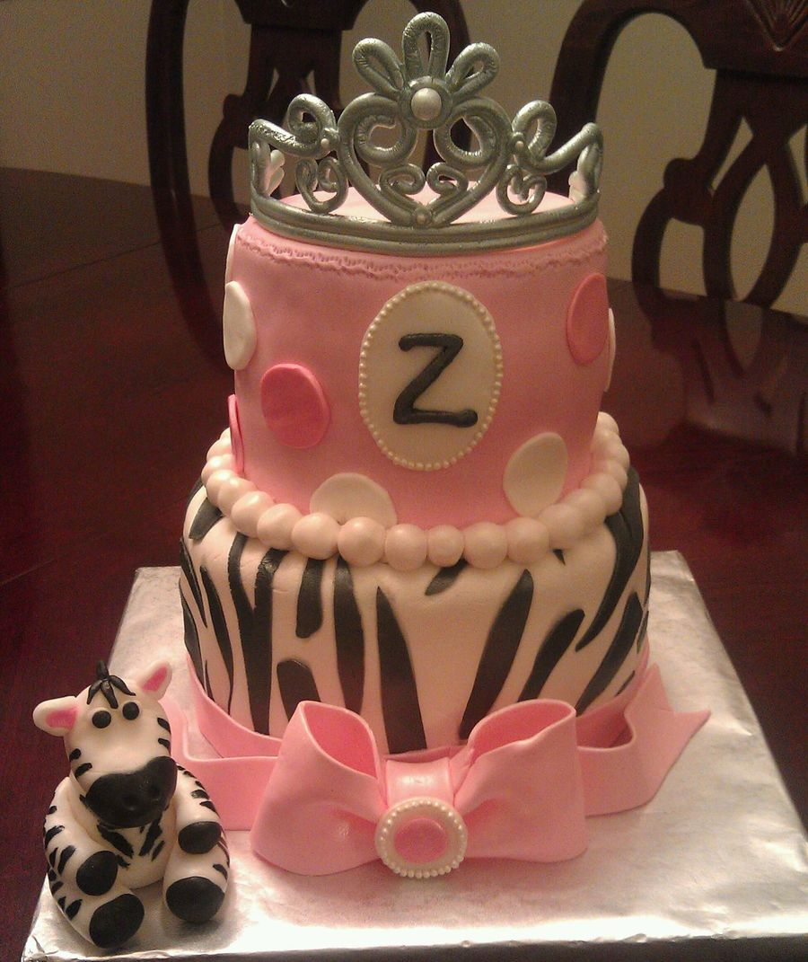 Zebra Cake With Gumpaste Tiara And Bow Zebra Is Fondant on Cake Central