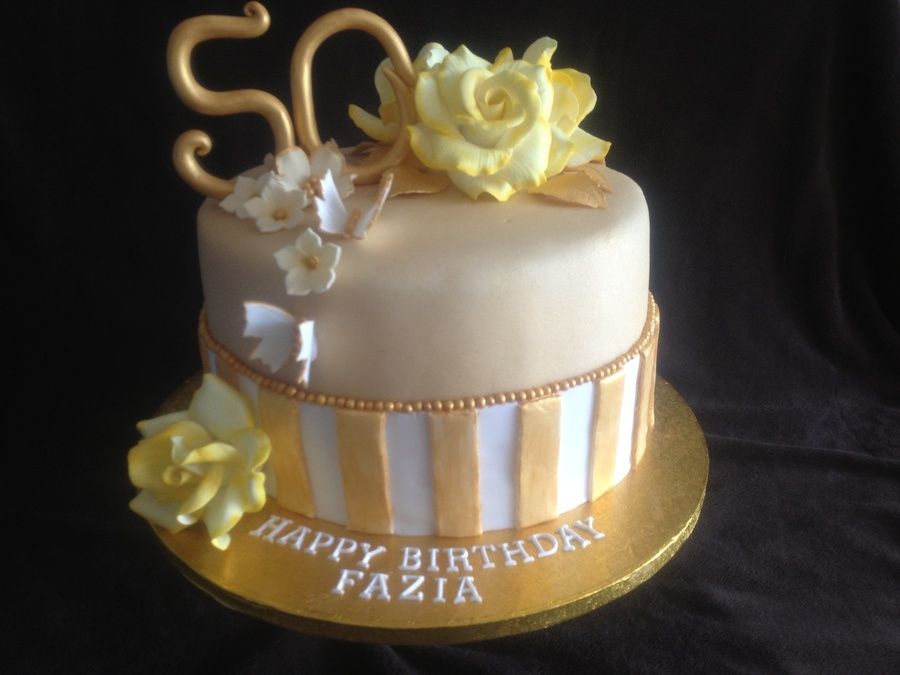 Gold Vintage 50Th Birthday Cake on Cake Central