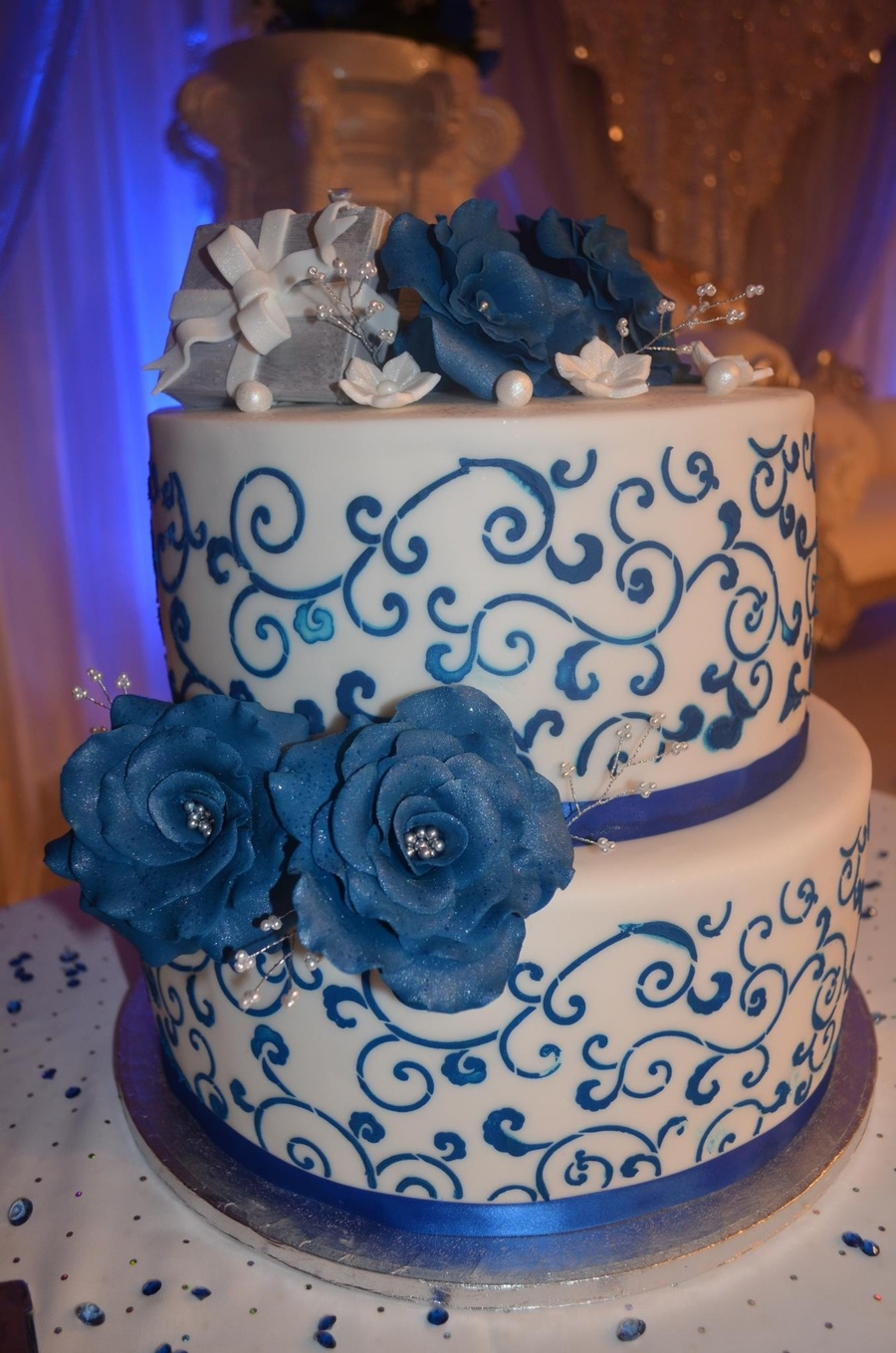 Blue And White Ringbox Engagement Cake  on Cake Central