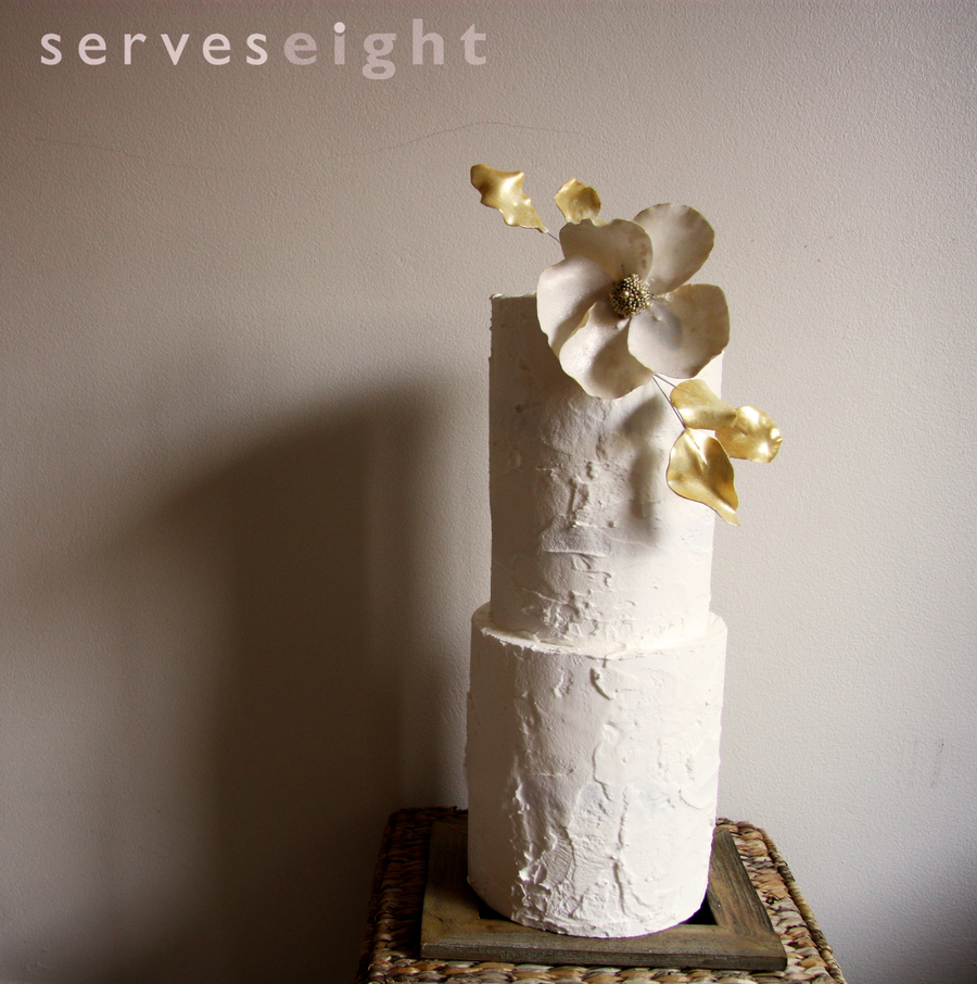 Double Barrel Rough Iced Vintage Wedding Cake on Cake Central