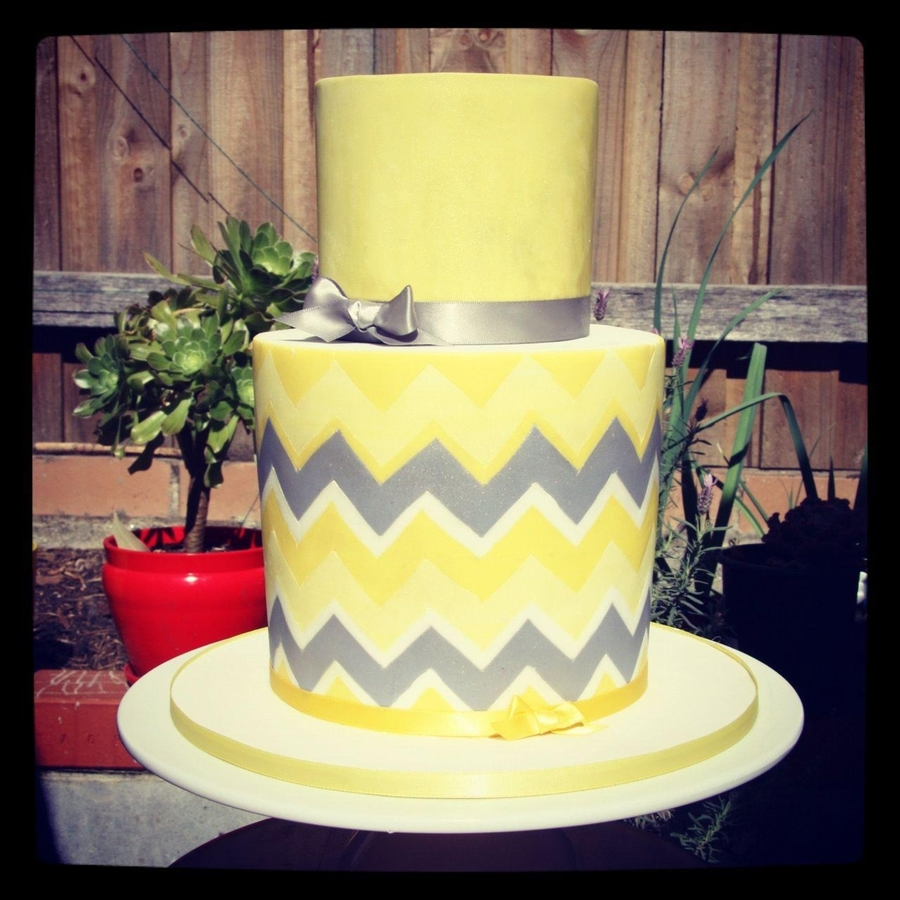 Yellow & Grey Chevron Baby Shower Cake on Cake Central