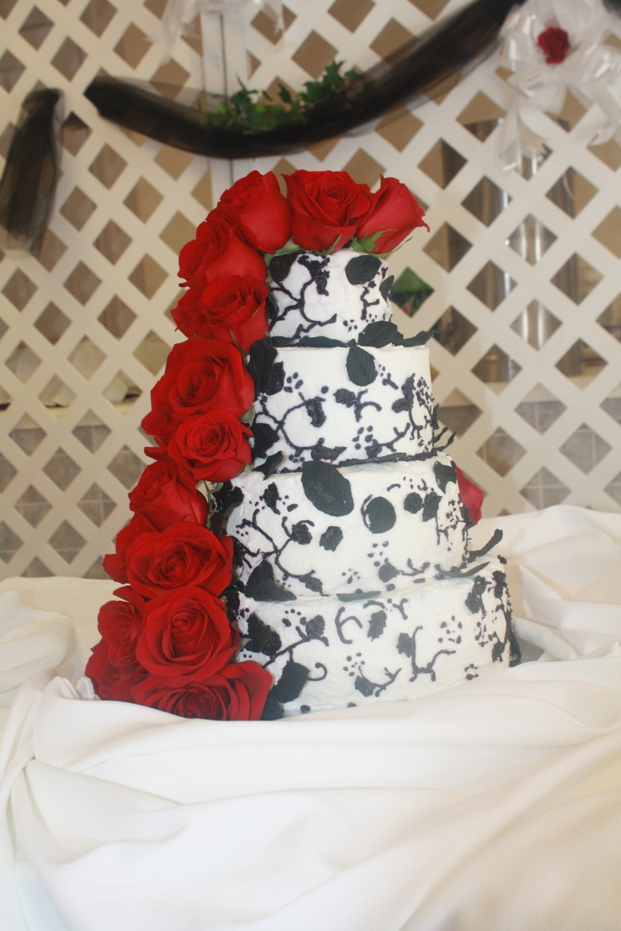 Wedding Black, White With Red Roses on Cake Central