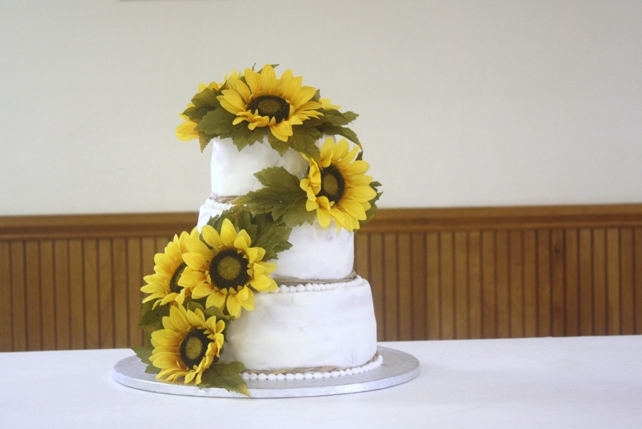 Sunflower Wedding Cake on Cake Central