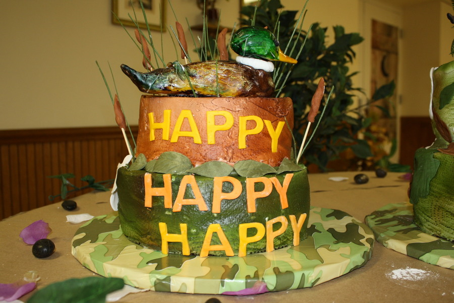 Duck Dynasty Grooms Cake Happy Happy Happy Duck Dynasty Grooms Cake Bottom Cake Is Camo In The Inside And Top Is Carrot Duck And All Deta on Cake Central