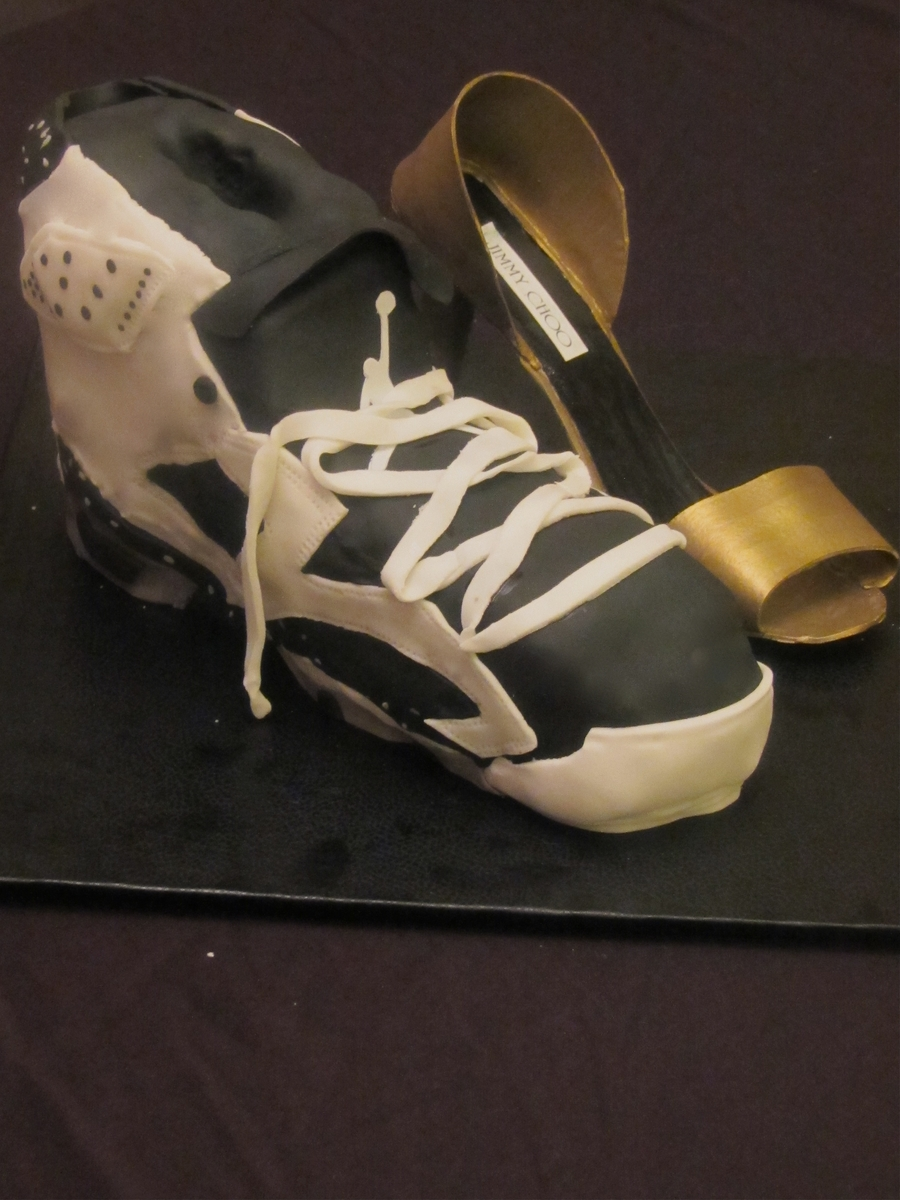 Running Shoe And High Heel Shoe on Cake Central