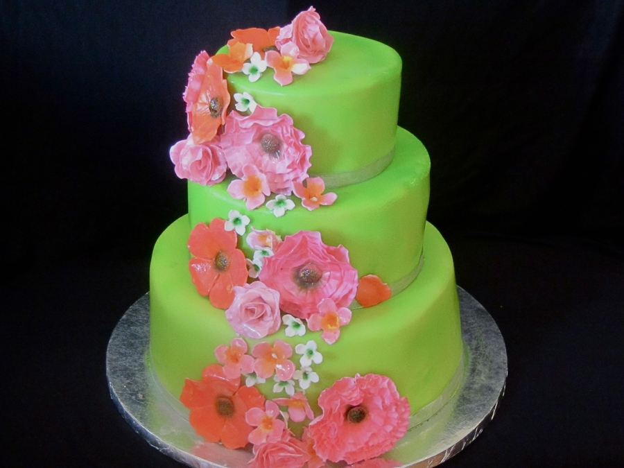 Green Wedding Cake  on Cake Central