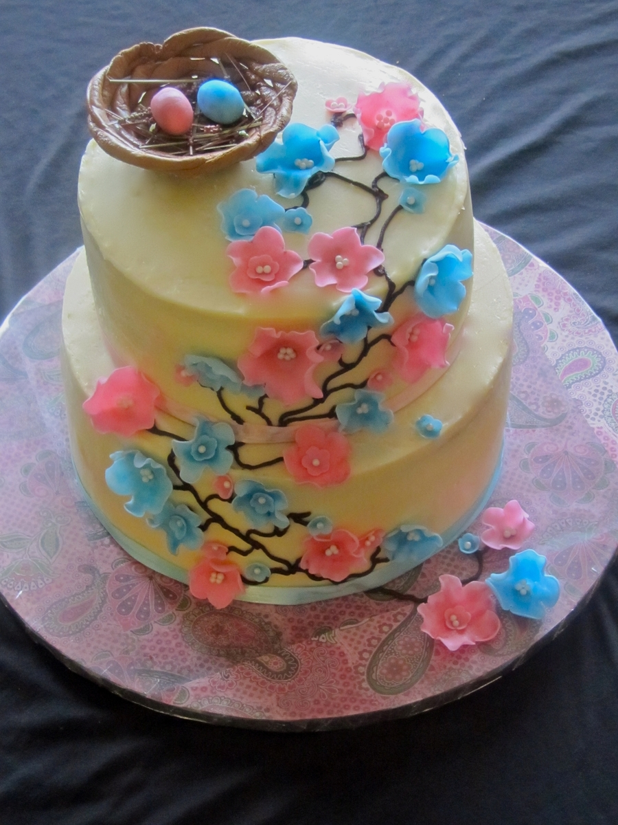Cherry Blossom Baby Shower Cake on Cake Central