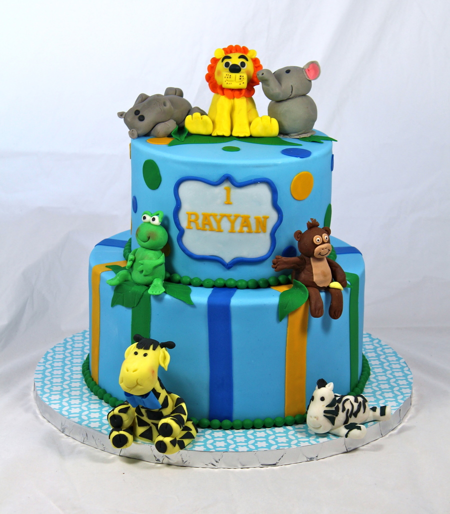 Jungle Theme Cake All Animals Made Out Of Fondantgumpaste By Using You Tube Tutorials Elephant Was Made Using Sharon Wees Tutorial on Cake Central