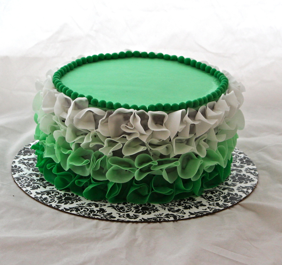 Green Ombre Ruffle Cake on Cake Central