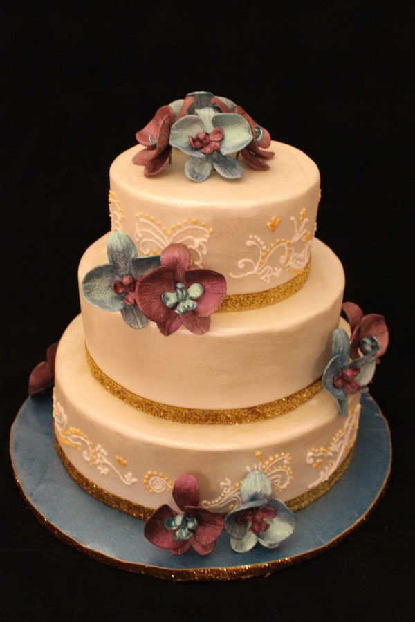 Three Tier Wedding Cake With Gunpaste Moth Orchids on Cake Central