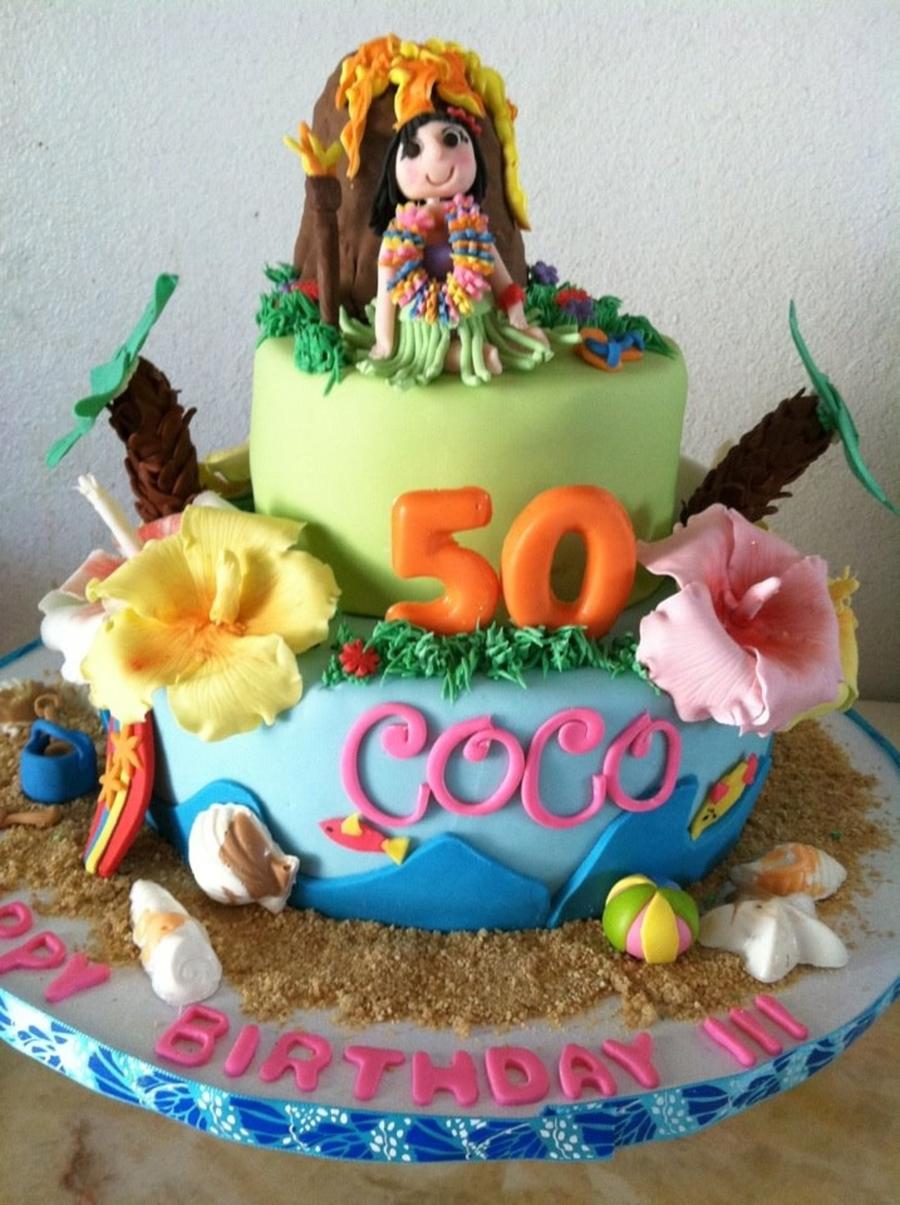 Miraculous Luau Birthday Cake Cakecentral Com Funny Birthday Cards Online Inifodamsfinfo