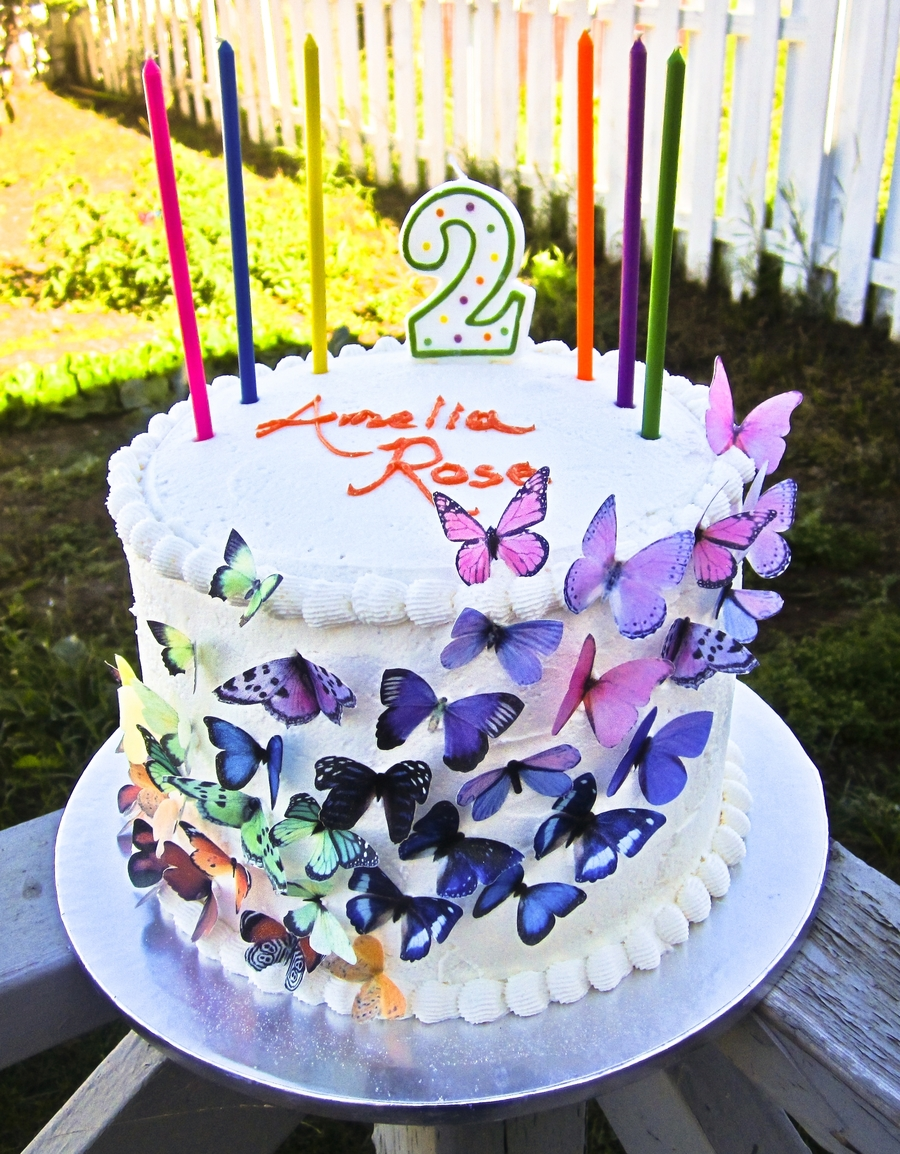 Butterfly And Rainbow Birthday Cake