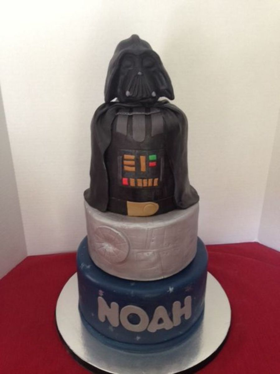 Three Tiered Darth Vader Cake 10 8 And Double Barrel 6 Tiers Are Covered In Marshmallow Fondant The Head Is Sculpted Rice Krispy on Cake Central