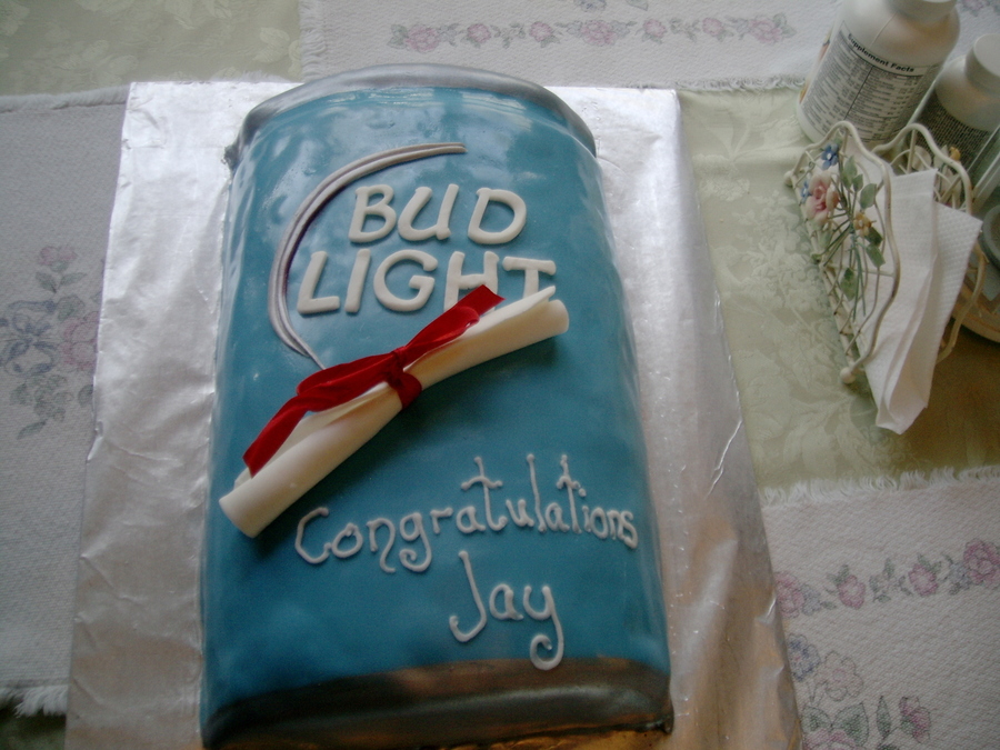 Bud Light Graduation Cake  on Cake Central