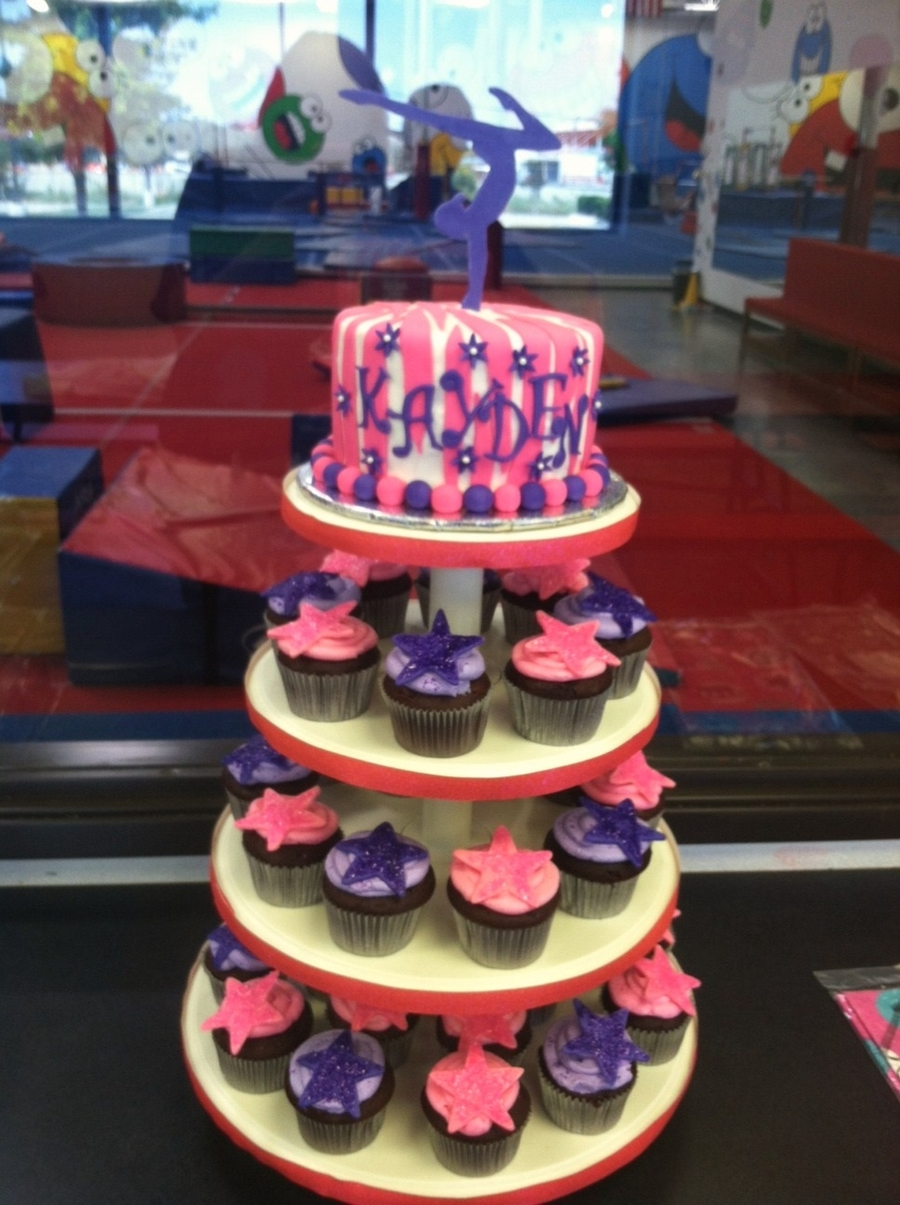 Gymnastic Cupcake Tower  on Cake Central