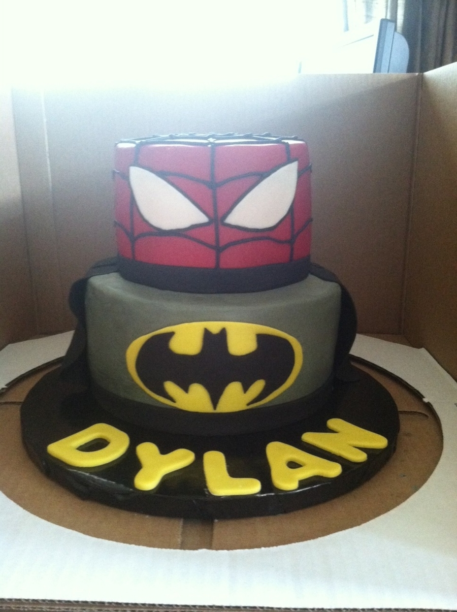 Batman/spiderman Cake on Cake Central