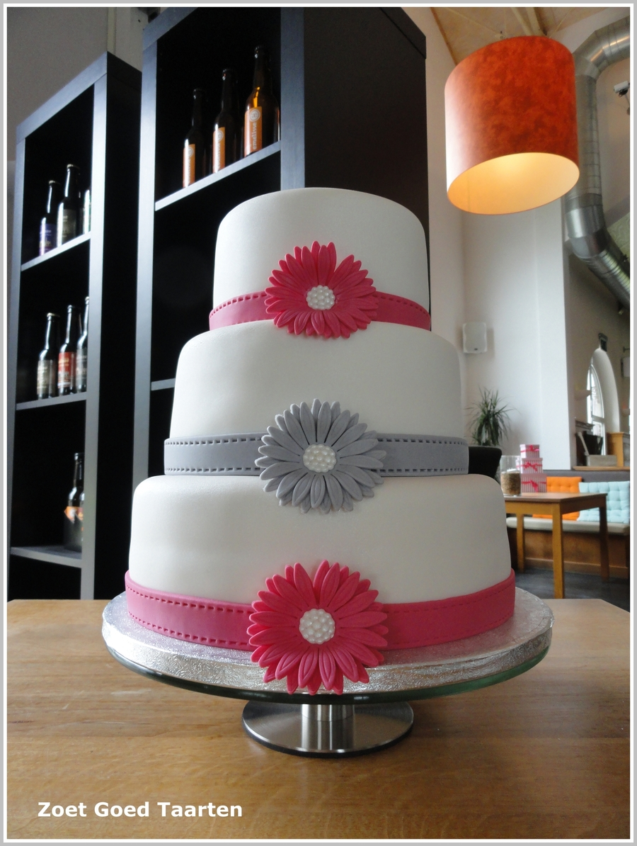 White Wedding Cake With Gerberas on Cake Central