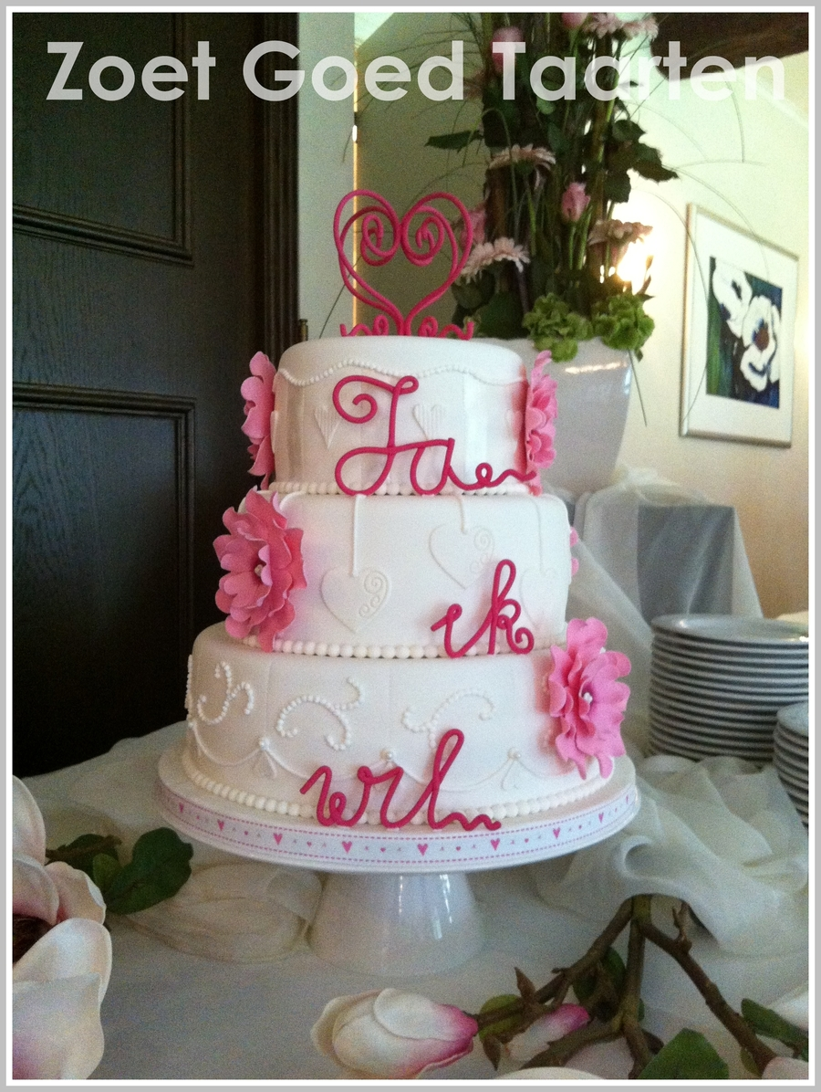 Romantic Cake In White With Pink on Cake Central
