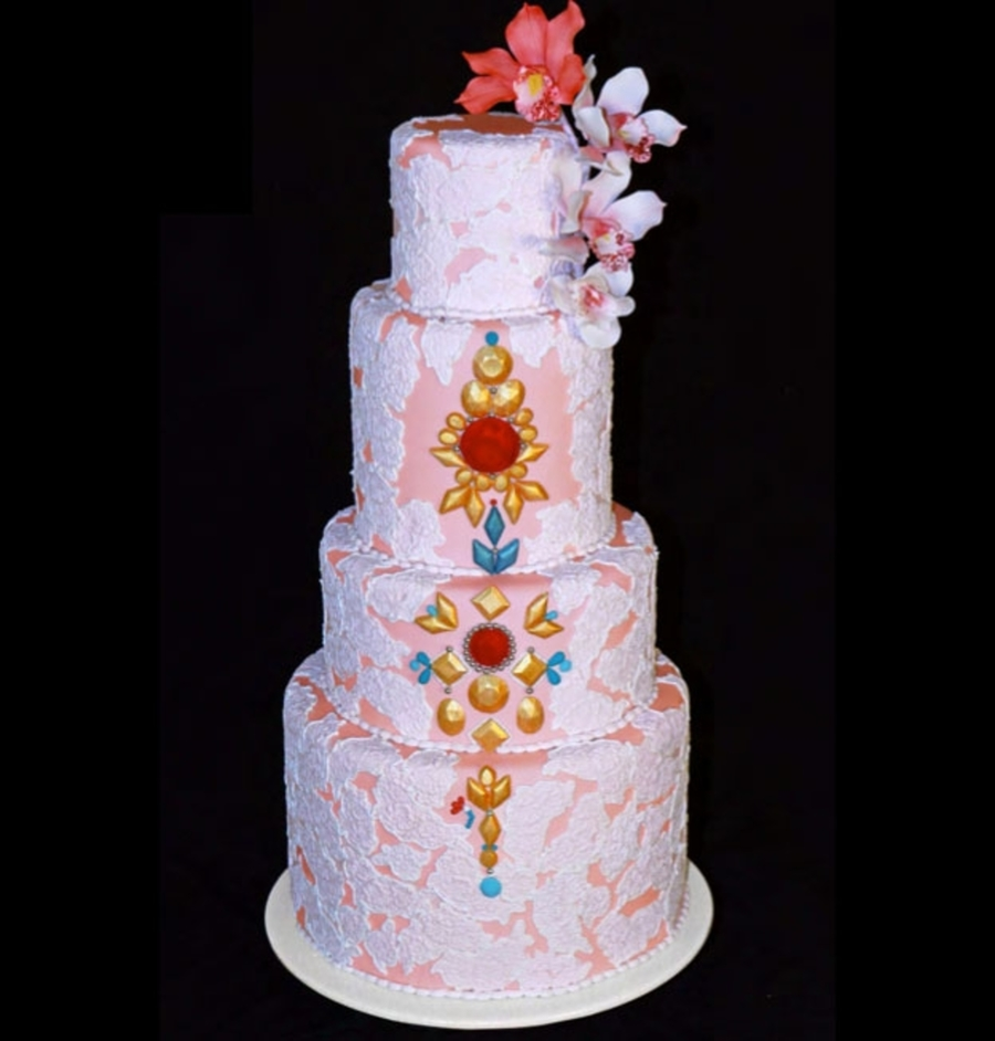 Jewels & Lace Wedding Cake on Cake Central