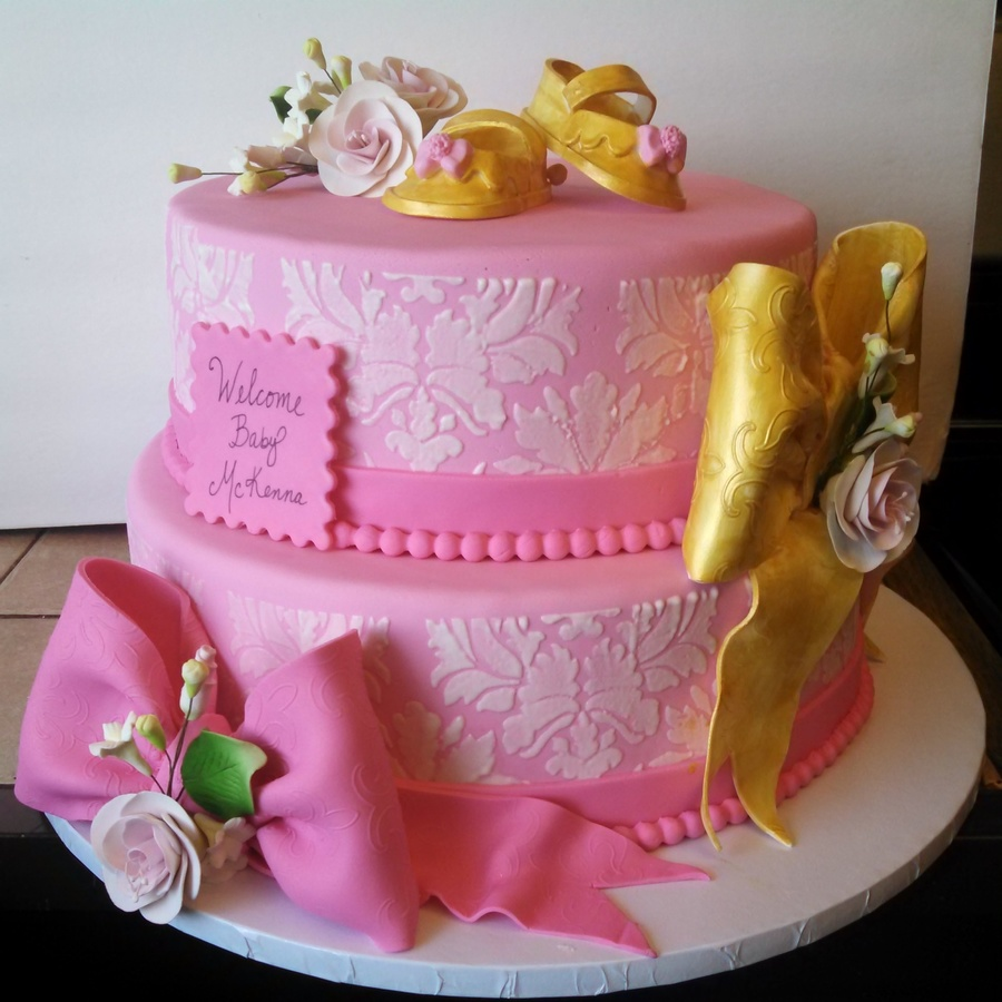 pink and gold baby shower cake on cake central