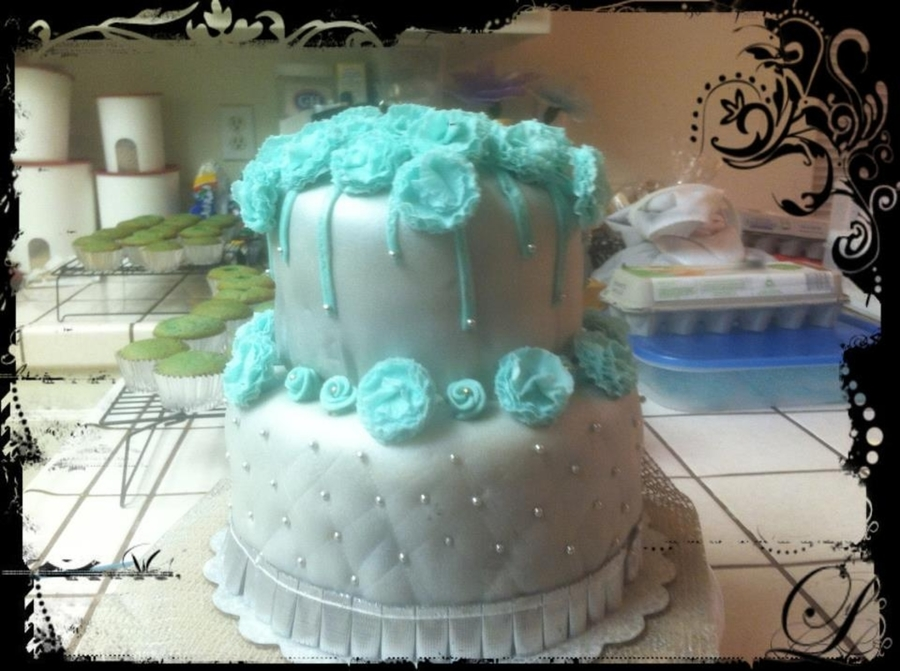Silver Cake With Teal Carnations on Cake Central
