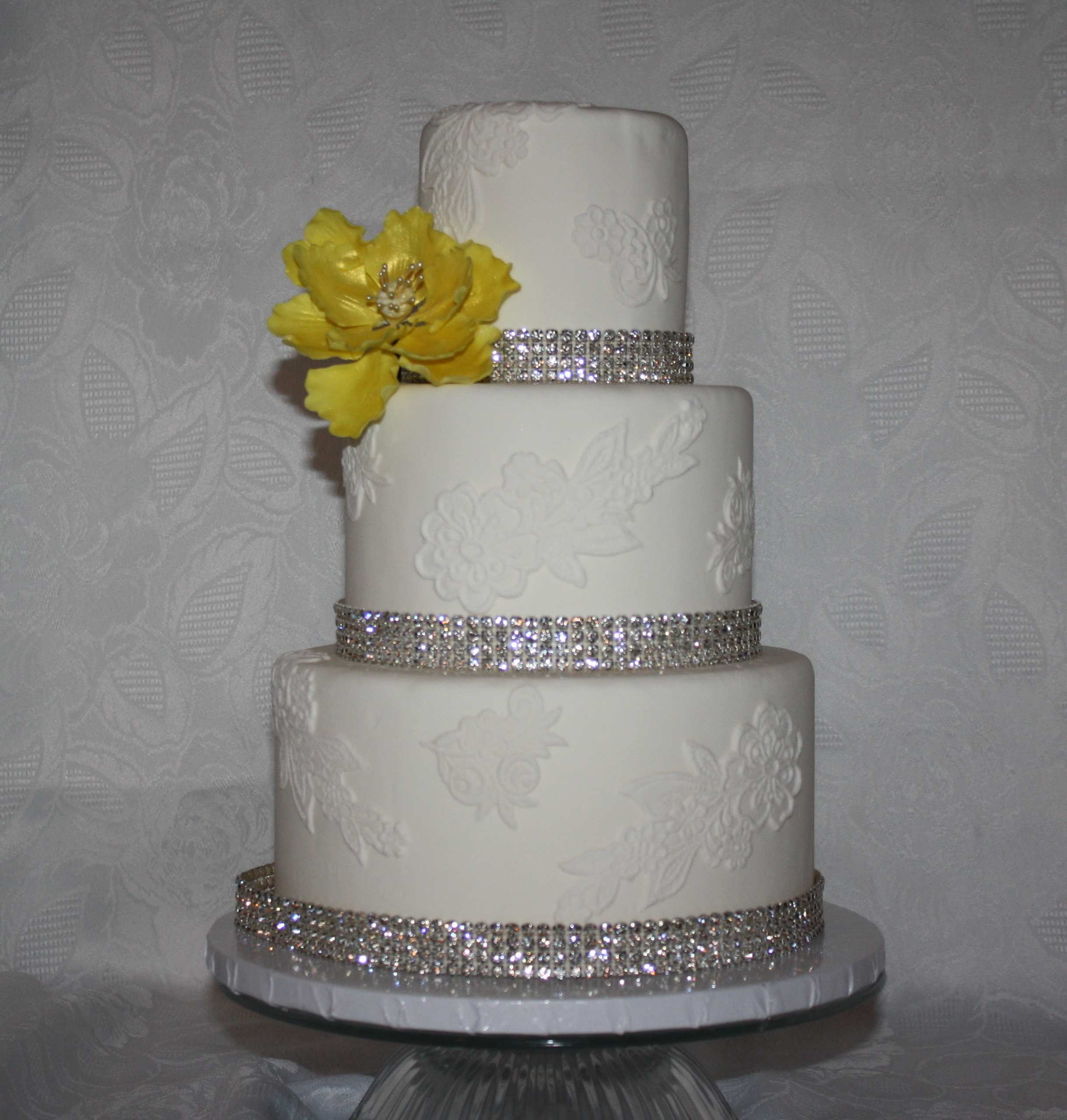 wedding cake ribbon with rhinestones 3 tier fondant wedding cake with pink gunpaste peony and 23689