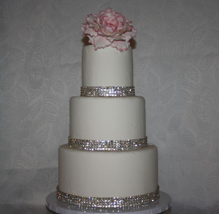 Tier Wedding Cake With Ribbon
