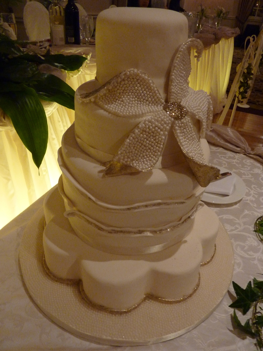 Pearl Wedding Cake  on Cake Central