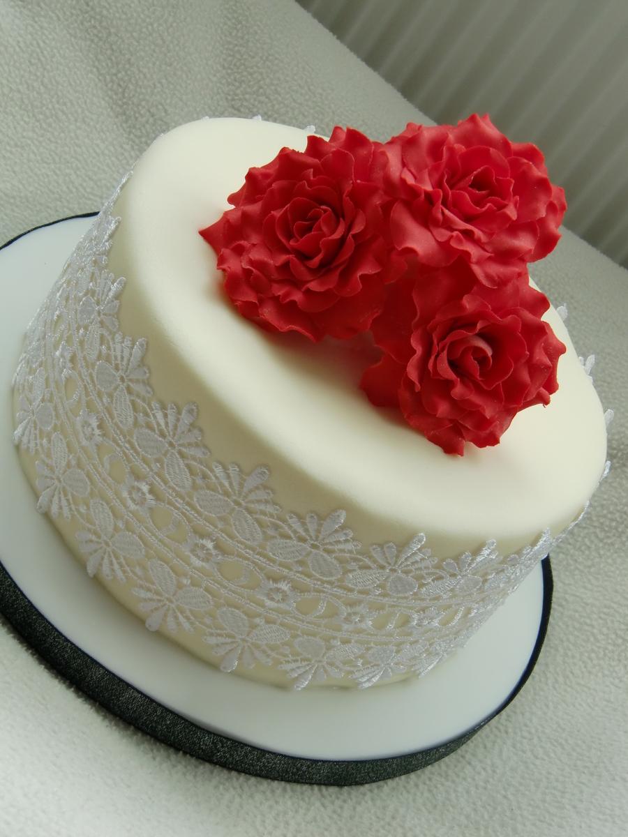 Square Wedding Cake Red Roses