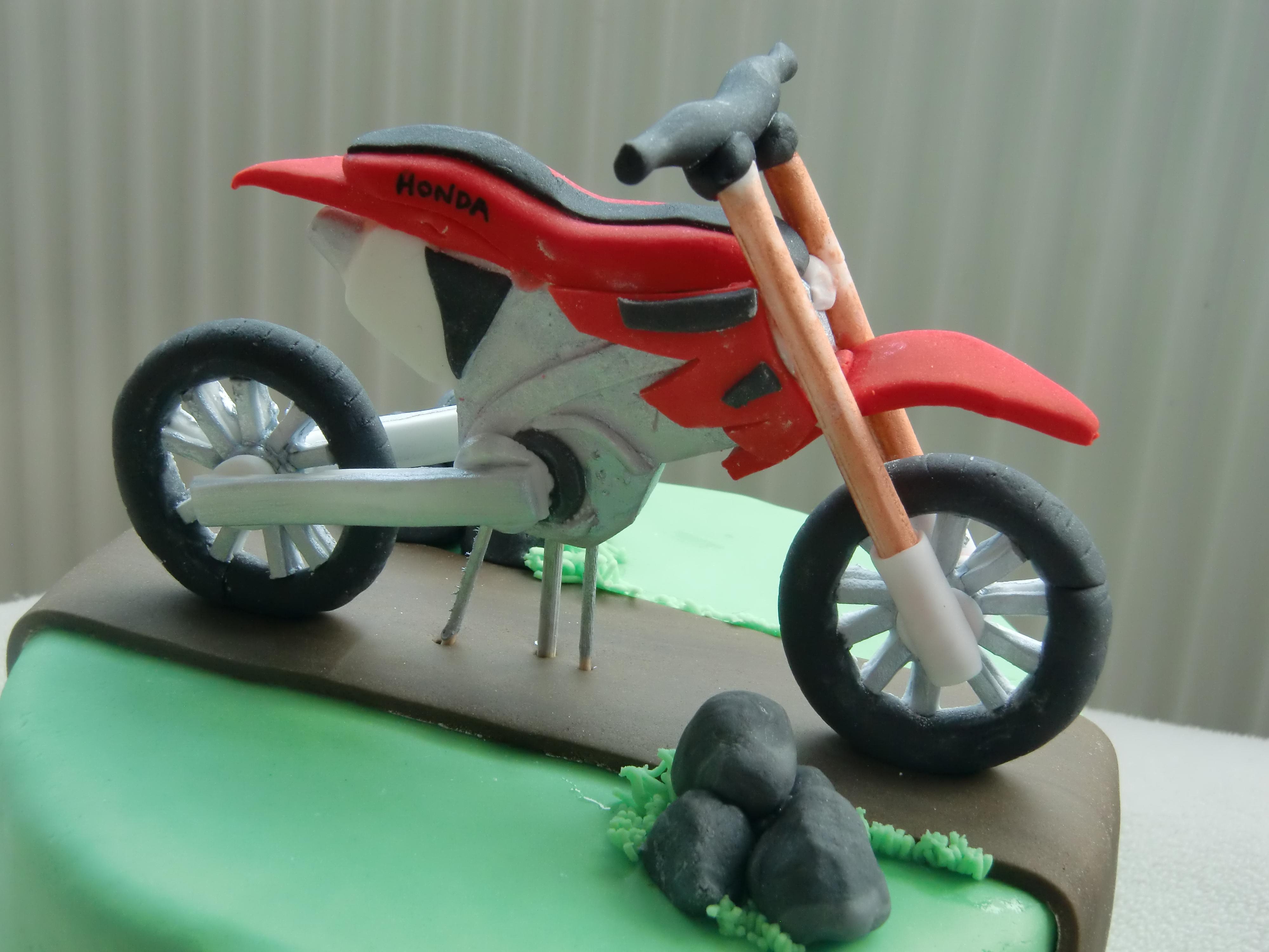 Honda Bike Motor Cross Bike Cake Mixture Of Modelling