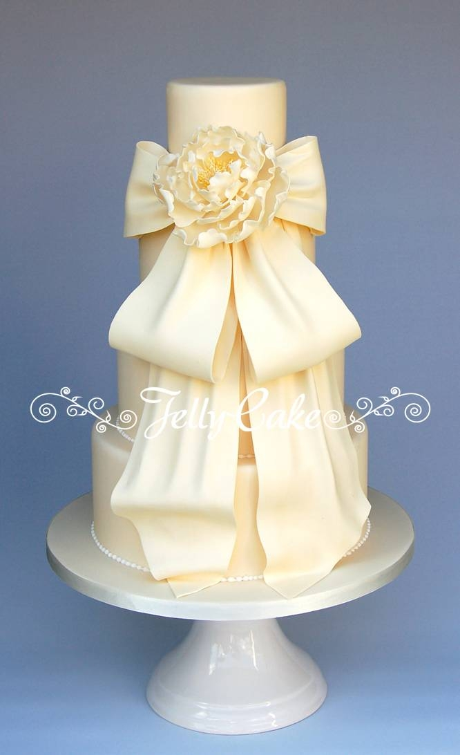 This Cake Was Designed Around The Back Of A Beautiful Phillipa Lepley Wedding Dress With Draping Bows And Finished Off With A Sugar Peony on Cake Central