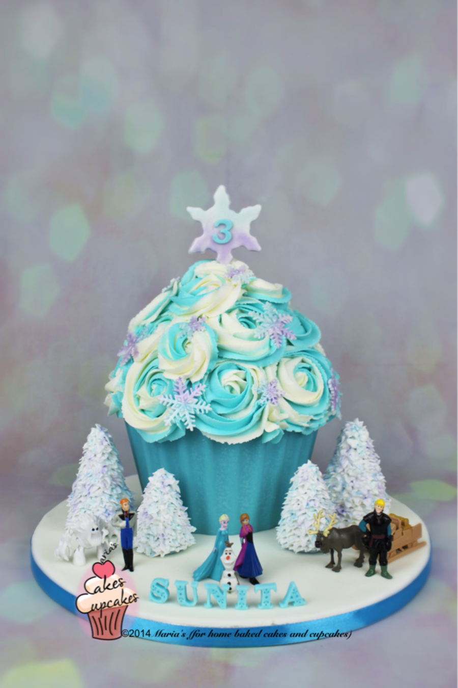 Frozen Inspired Giant Cupcake - CakeCentral com