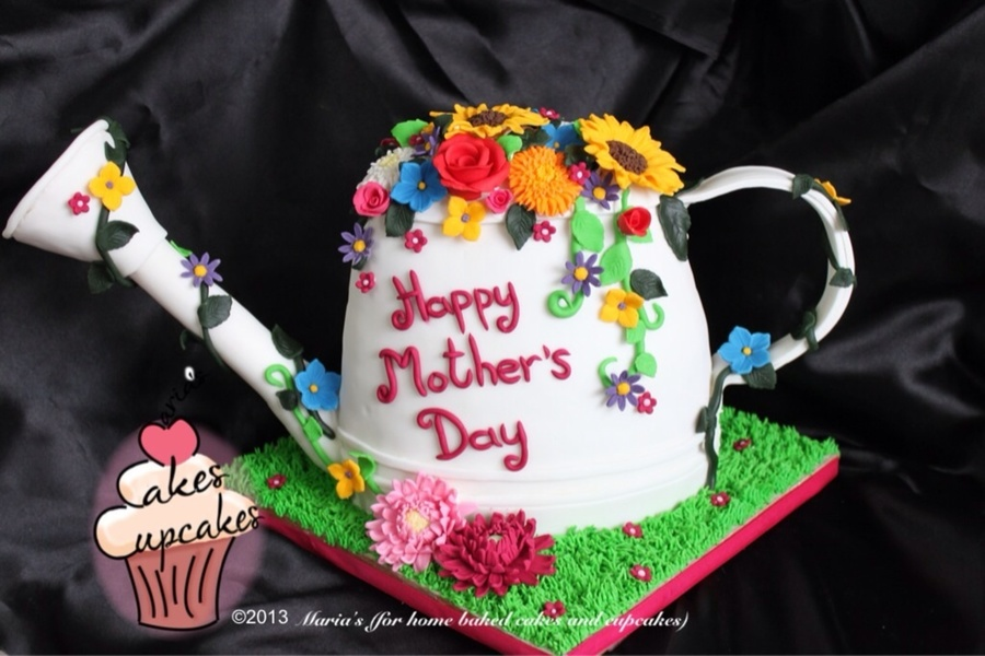 My Mothers Day Cake A Watering Can With Flowers In Bloom on Cake Central